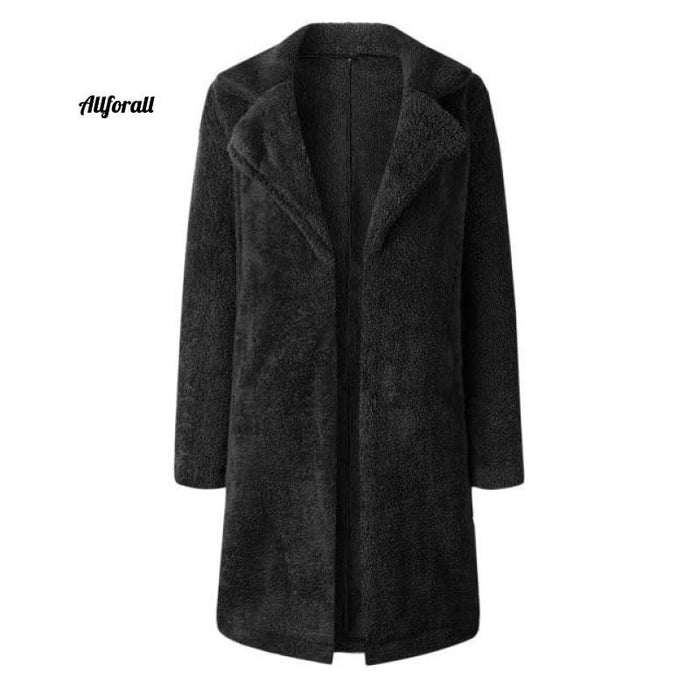 Plus Size Fashion Faux Fur Coat, Women winter Long Coat, Autumn Warm Soft Zipper Teddy Jacket women's elegant jacket allforall Black L