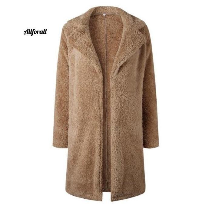 Plus Size Fashion Faux Fur Coat, Women winter Long Coat, Autumn Warm Soft Zipper Teddy Jacket women's elegant jacket allforall Camel L