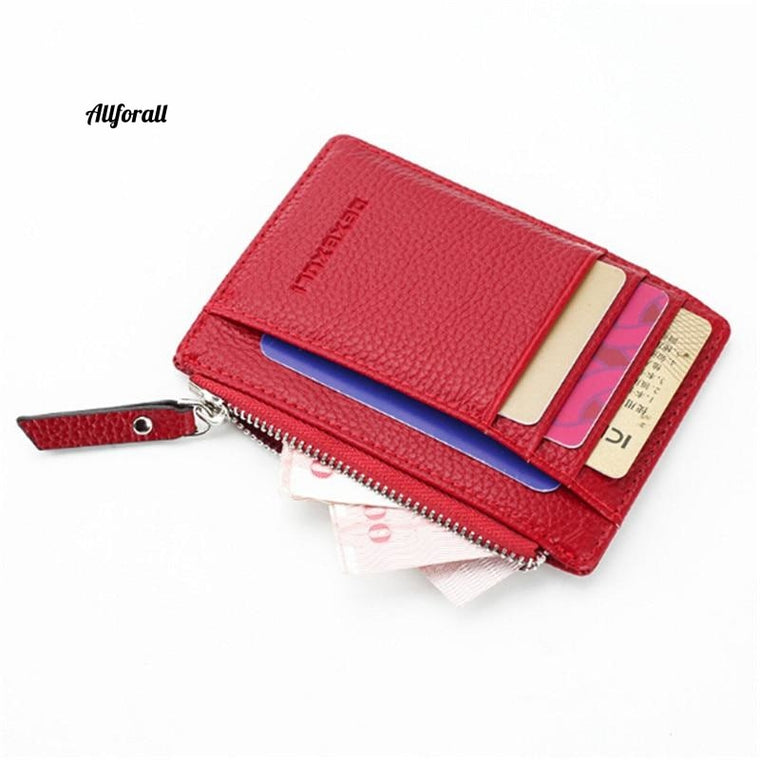 Pu Leather Card Holder, Men & Women Zipper Wallet, Bag Purse Small Wallet Pocket Ultra Thin