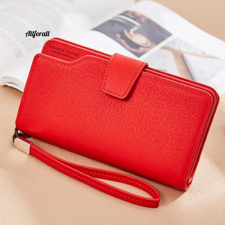PU Leather Wallet, Clutch Purse Red 3Fold Women Zipper Wallet Purse, Strap Money Bag Coin Female Purse