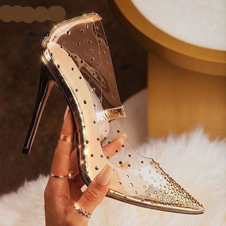Pvc Clear Golden Diamond Διαφανές σέξι γυναικεία παπούτσια, Rhinestones Crystal Pumps Pointed Toe High Heels Shoes