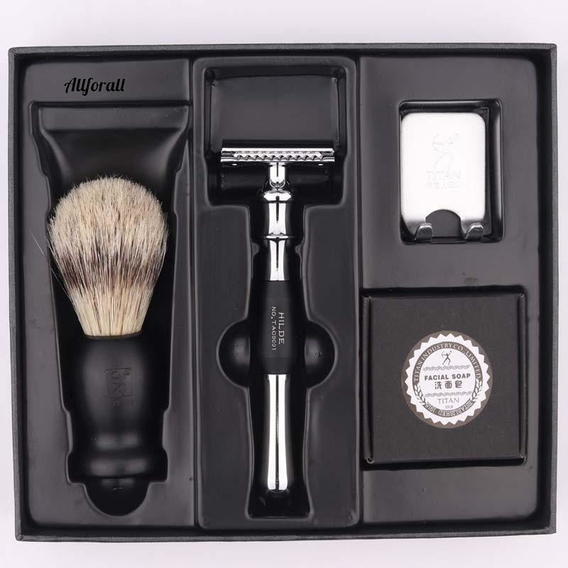 Razor Double Edge Safety Razor Set With Brush & Soap