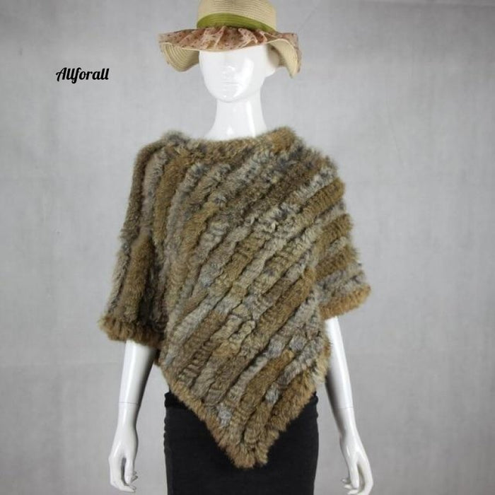 Real Fur Sticked Rabbit Poncho Vest Fashion Wrap Coat Shawl Lady Natural Wedding Party Grass Yellow