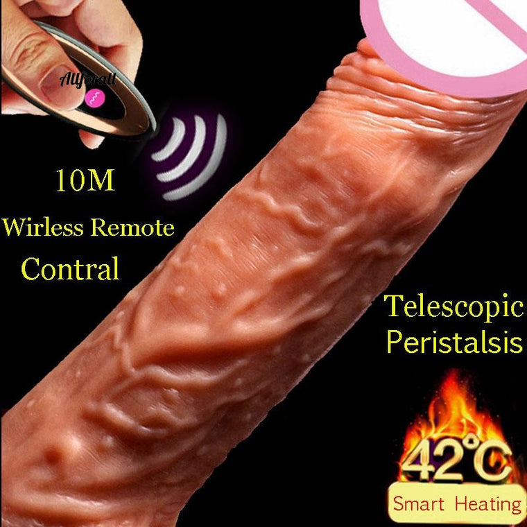 Realistic Penis Super Huge Big Dildo Remote Vibrator Telescopic Vibrator, Realistic Dildo Vibrator Heating Skin Feeling