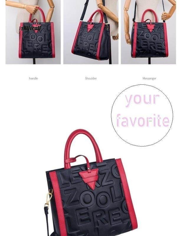Red Handle Fashion Genuine Leather Bag Women Luxury Handbag, Woman Tote Designer Patchwork Ladies Winter Handbag women bags allforall