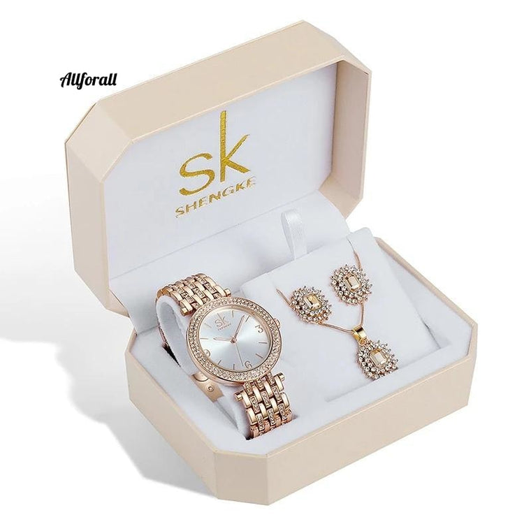 Rose Gold Watches Women Earrings Necklace Set, SK Creative Ladies Quartz Watches, Crystal Jewelry Set