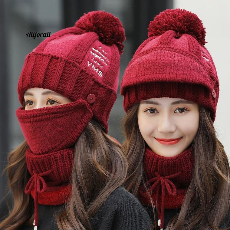 Sets 3 Hats, Women Winter Knit Beanies Hat with Bib and Mask, Female Ear Protection Warm Velvet Cap