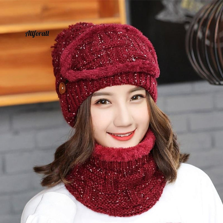 Sets 3 Variety Wearing Velvet Hat, Women Warm Winter Thick Wool Beanies Hat