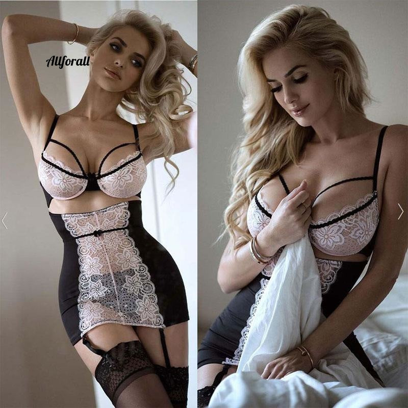 Sexy Lace Solid Lingerie, Women G-string Hot Erotic Baby-doll Sleepwear Robe Sexy Underwear Dress