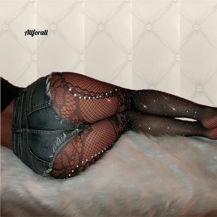 Sexy Plus Size Tights Rhinestone Pantyhose Collant Femme Fishnet Stockings, Medias Erotic Lingerie
