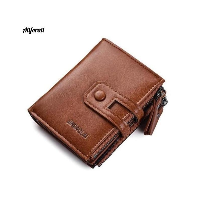 Short PU Leather Double Zipper Hasp Men Purse, Card Holder Coin Pocket Vintage High Quality Brand Men Wallet Men Wallets allforall brown