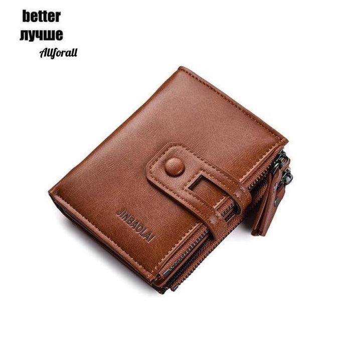 Short PU Leather Double Zipper Hasp Men Purse, Card Holder Coin Pocket Vintage High Quality Brand Men Wallet Men Wallets allforall brown better