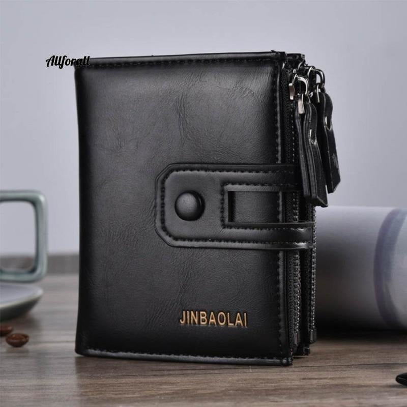 Short PU Leather Double Zipper Hasp Men Purse, Card Holder Coin Pocket Vintage High Quality Brand Men Wallet Men Wallets allforall