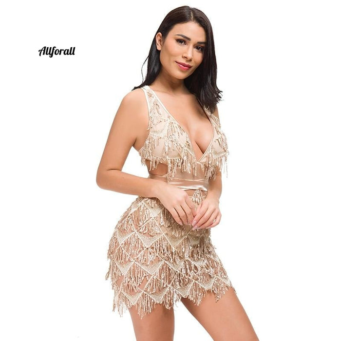 Sparkle Backless Tassel Pailletten Bodycon Jurk Vrouwen Omzoomd Bandage Party Party