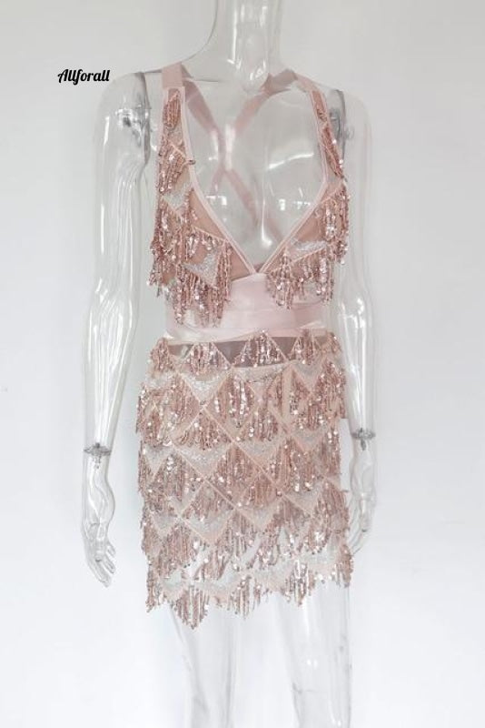 Sparkle Backless Tassel Pailletten Bodycon Jurk Dames Omzoomd Bandage Party Rose Gold / L Party