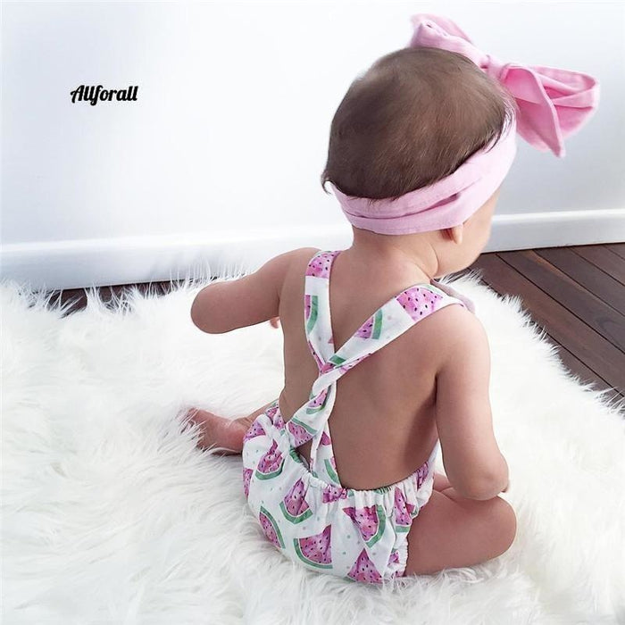 Summer Cute Baby Girls Strampler Jumpsuit Stirnband Watermelon Printed Outfits 0-24M Babyschuhe allforall