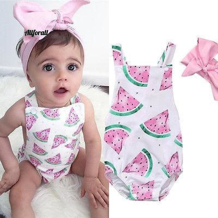 Summer Cute Baby Girls Romper Jumpsuit Headband Watermelon Printed Outfits 0-24M