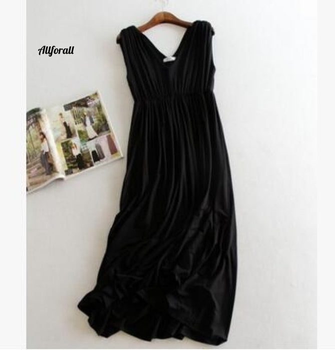 Summer Dress, Women Tunic Sexy Basic Sundress, Modal Black V-neck Party Dress