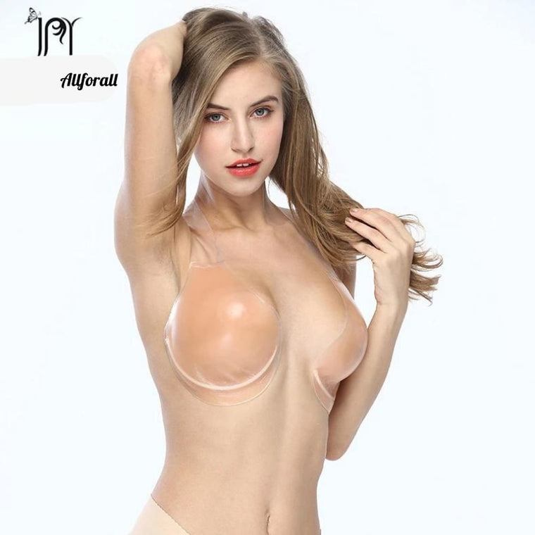 Super Push Up Silicone Bra For Big Breast, Sticky Gel On Cup, Women Silicone Bra For Party Dress Backless Bra