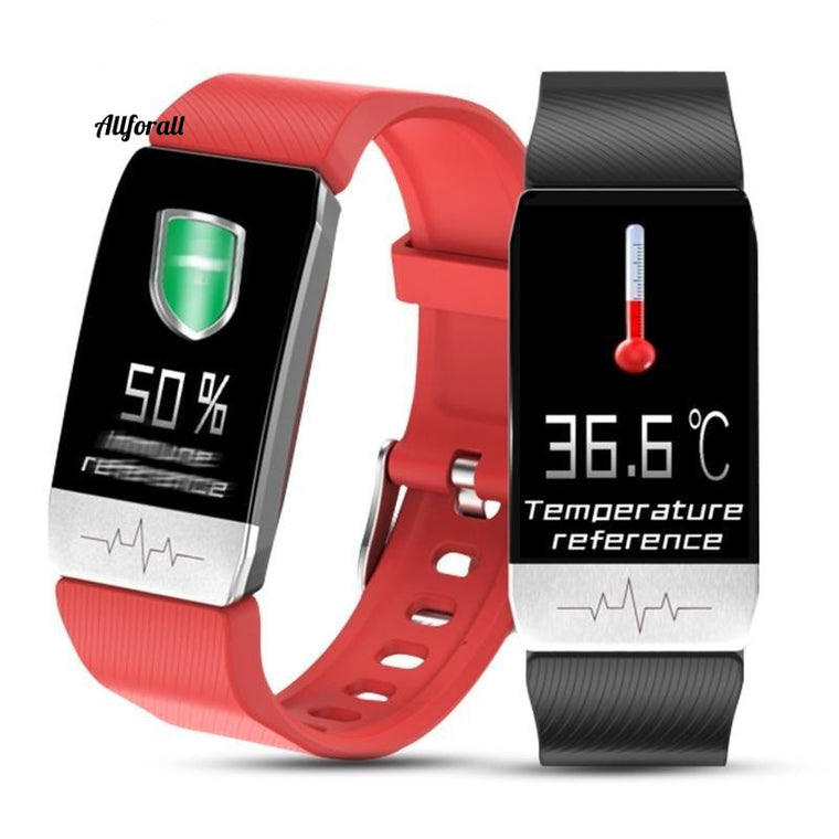 T1 Smart Watch-band met temperatuurmeting, ECG-hartslag bloeddrukmeter, weersvoorspelling, drinkherinnering