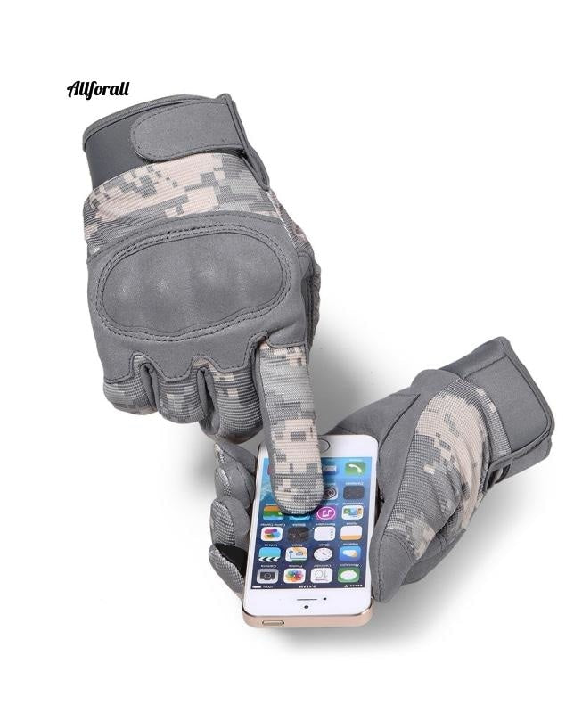 Tactical Military Army Gloves, ACU Camouflage Touch Screen Paintball Combat Hard Knuckle Bicycle Full Finger Gloves touchscreen glove allforall