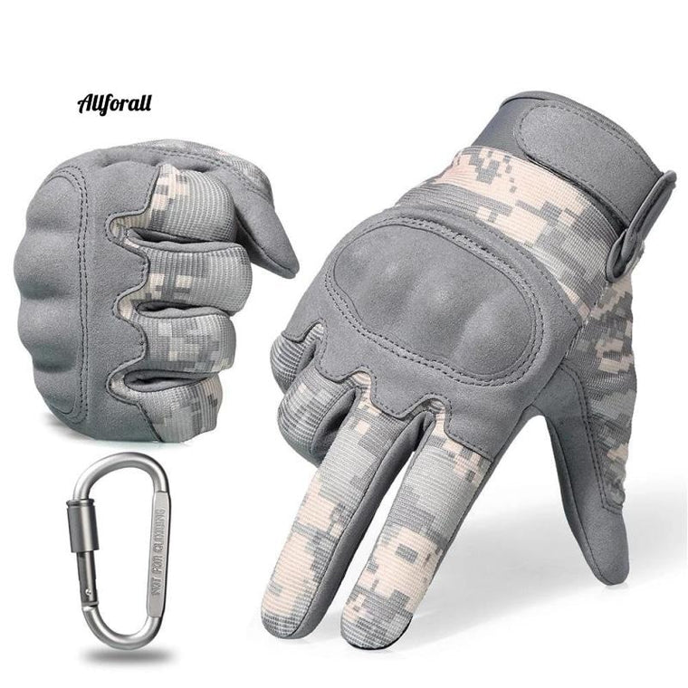 Tactical Military Army Gloves, ACU Camouflage Touch Screen Paintball Combat Hard Knuckle Bicycle Full Finger Gloves
