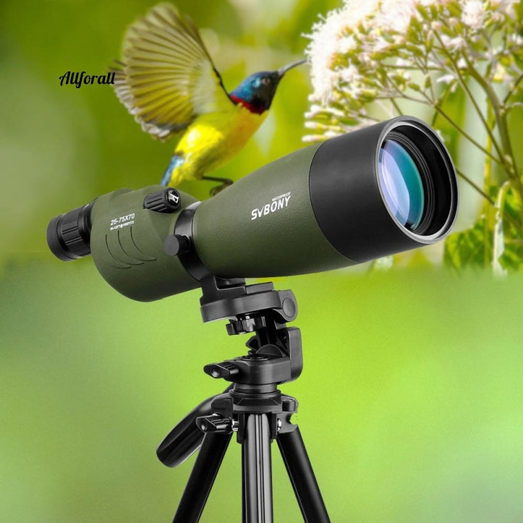 Telescope 25-75x70 Zoom, Spotting Scope SV17 BAK4 Prism FMC Lens Coating Monocular Waterproof Optics Outdoor