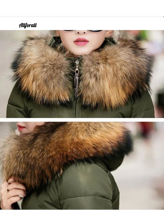 Thick Warm Slim Down Parka Women Long Hooded Big Fur Collar Coat, Winter Oversize Female Jacket women jacket allforall