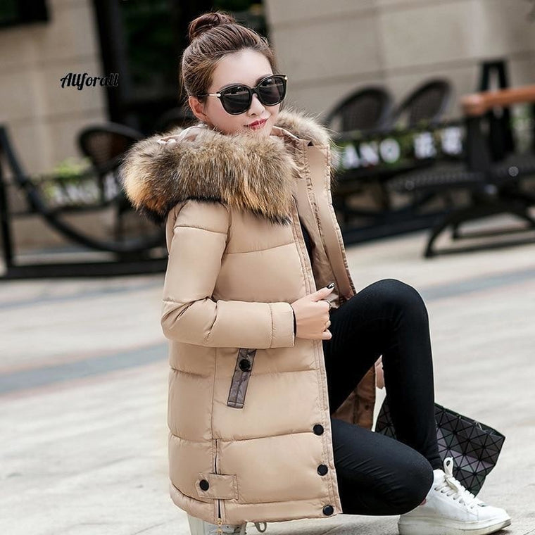 Thick Warm Slim Down Parka Women Long Hooded Big Fur Collar Coat, Winter Oversize Female Jacket