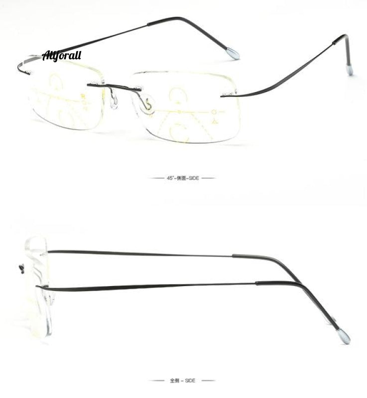 Titanium Rimless Progressive Multifocal Multifocus Reading Glasses Transition Hyperopia Presbyopia