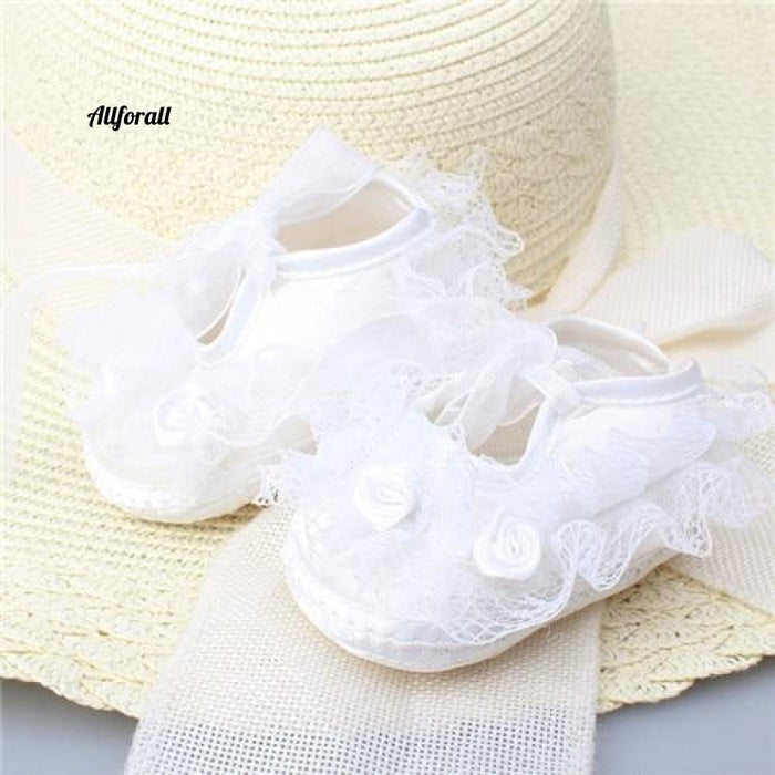 Transparent Crystal Lace And Baby Shoes Pure White Newborn Lace White / 1 Baby-Shoes