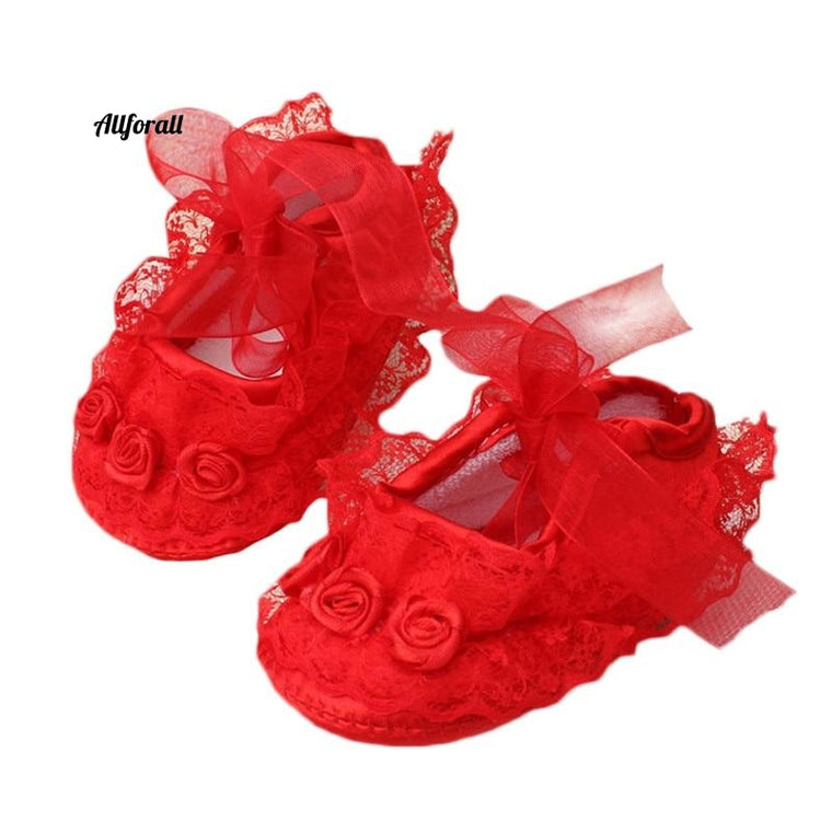 Transparent Crystal Lace And Lace Baby Shoes, Pure White Newborn Baby Shoes