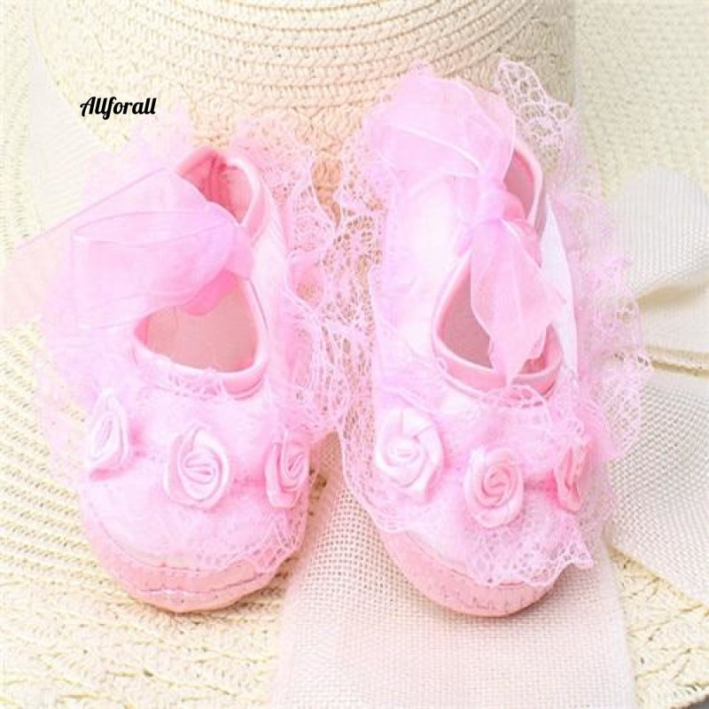 Transparent Crystal Lace And Baby Shoes Pure White Newborn Lace Pink / 1 Baby-Shoes