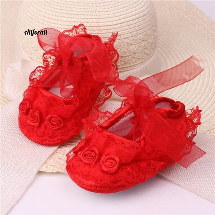 Transparent Crystal Lace And Baby Shoes Pure White Newborn Lace Red / 1 Baby-Shoes