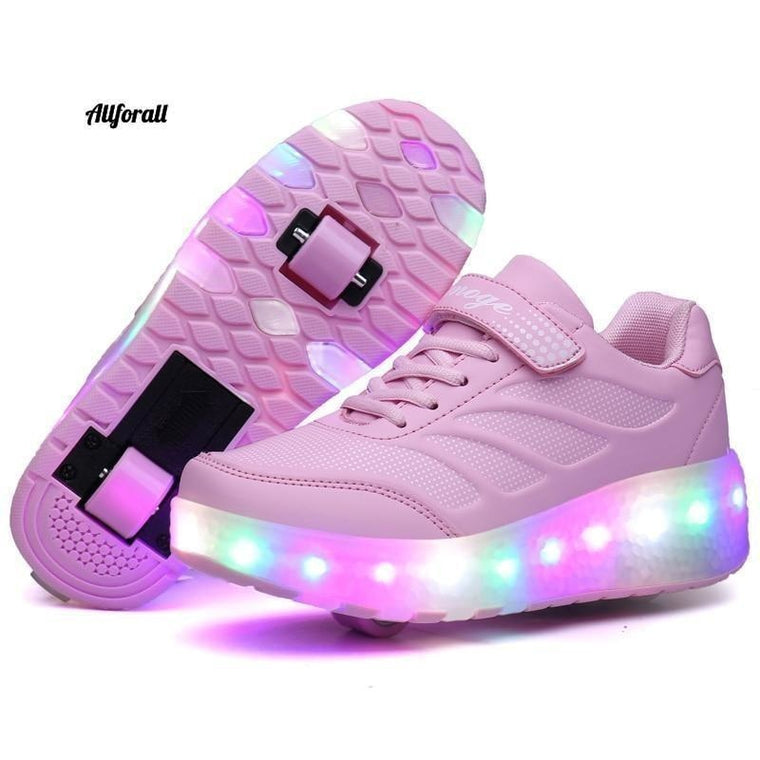 Two Wheels Luminous Sneakers, Blue Pink Led Light Roller Skate Shoes For Boys & Girls