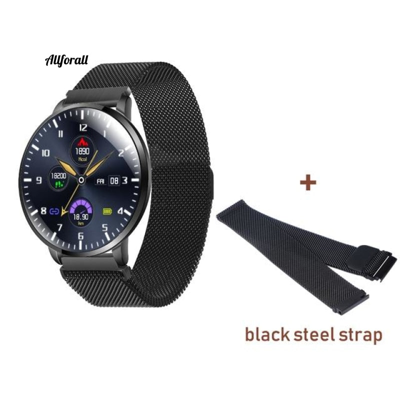 Ultrathin Full Screen Fitness Tracker With Heart Rate Monitor Ip68 Αδιάβροχο Smartwatch Black Steel