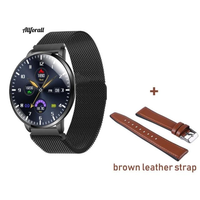 Ultrathin Full Screen Fitness Tracker With Heart Rate Monitor Ip68 Αδιάβροχο Smartwatch Brown Strap