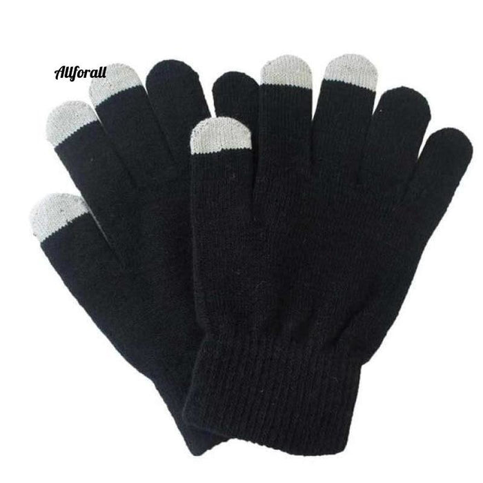 Unisex Winter Warm Capacitive Knit Gloves, Hand Warmer For Touch Screen Smart Phone Female Glove touchscreen glove allforall black