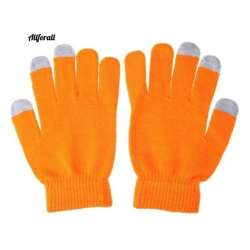 Unisex Winter Warm Capacitive Knit Gloves, Hand Warmer For Touch Screen Smart Phone Female Glove touchscreen glove allforall orange