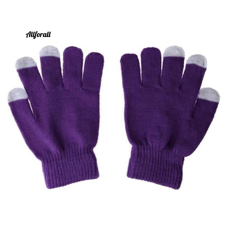 Unisex Winter Warm Capacitive Knit Gloves, Hand Warmer For Touch Screen Smart Phone Female Glove touchscreen glove allforall purple