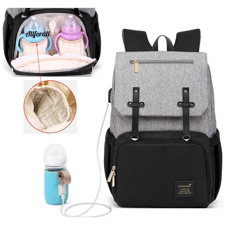 USB Waterproof Stroller Diaper Backpack for Mom Maternity, Nappy Women Travel Infant Multi-functional Baby Bag