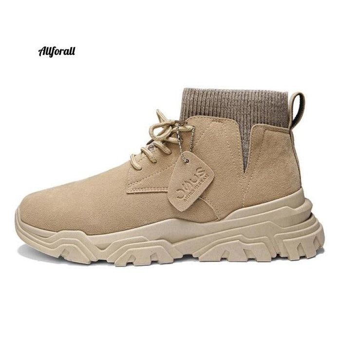 Vast Wave Warm Winter Men Boot, Genuine Leather Ankle Winter Work Shoes, Military Leather Men Snow Boot Men winter boot allforall Beige2925 9.5
