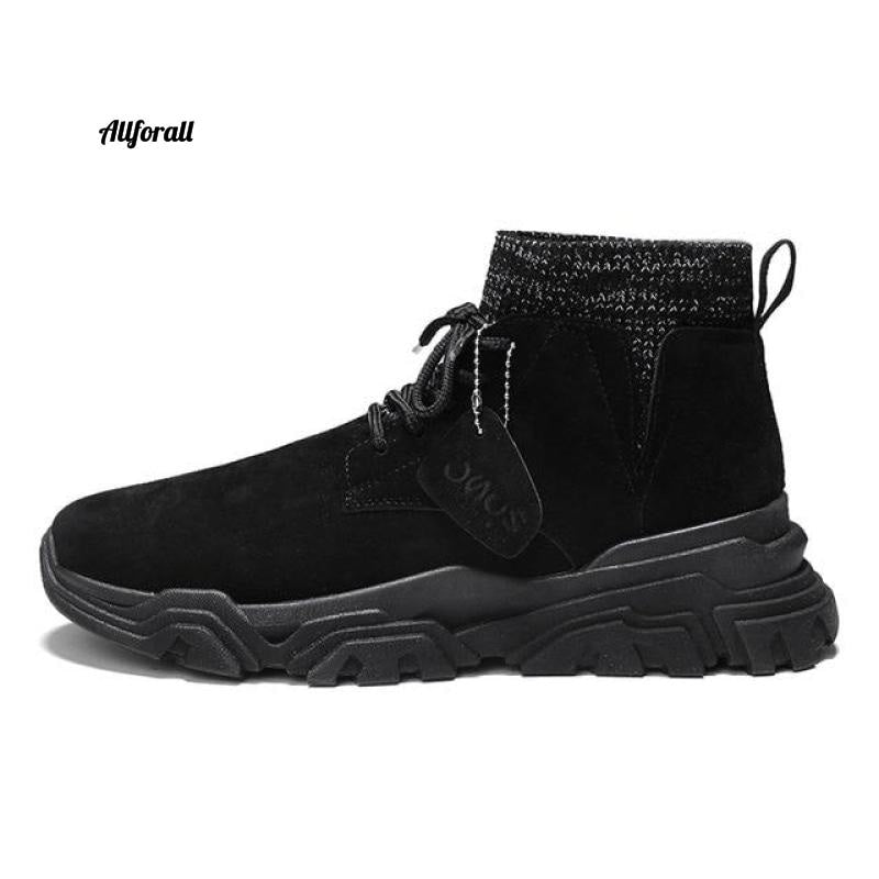 Vast Wave Warm Winter Men Boot, Genuine Leather Ankle Winter Work Shoes, Military Leather Men Snow Boot Men winter boot allforall Black2926 9.5