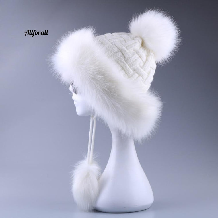 Vintage Faux Fox Fur Bomber Hat Fluffy Pom Pom Women Ushanka Russain Wool Ear-flap Cossack Winter Cap