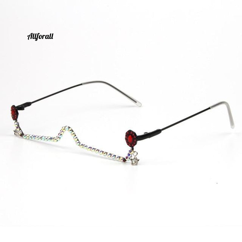 Water Drop Pendant Half Frame Rhinestone, Diamond Chain Shades Lensless Handmade Fashion Eyewear