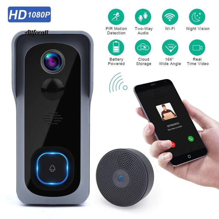 WiFi Doorbell Camera Waterproof 1080P HD Video Door Bell, Motion Detector Smart Wireless Doorbell with Night Vision