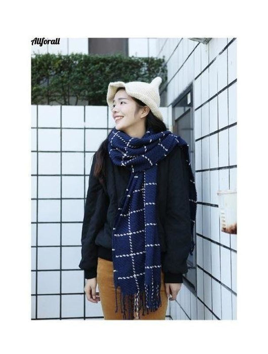 Winter Classical Plaid Scarf for Women, Thicken Warm Cashmere Shawl Scarf Poncho Female Foulard Scarfs Scarf allforall 4 One Size