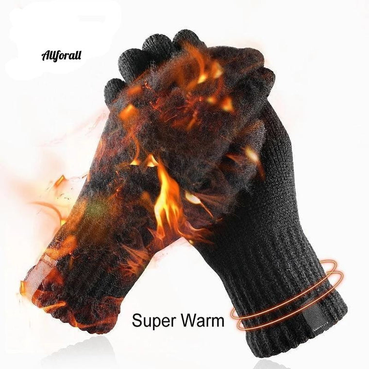 Winter Knitted Wool Touch Screen Gloves, Men Warm Short Plush Lining Full Finger Sport Cycling Gloves Mittens