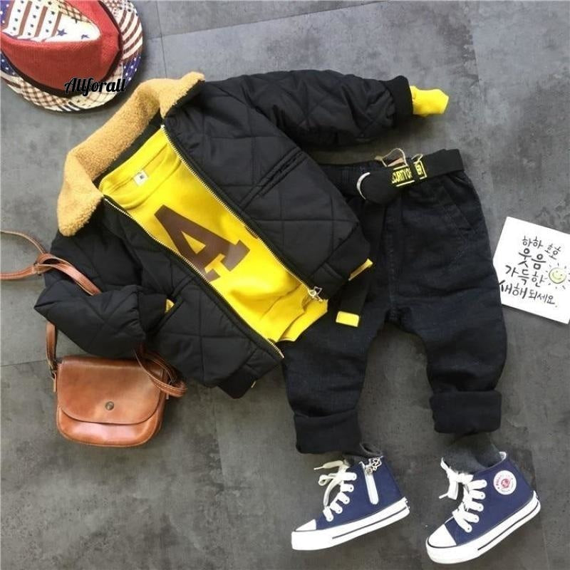 Winter Suits For Boys, Warm Thicken Jacket Coat, Letter Printing Sweatshirt Pants For Boys 3 - 7 Y kid's jacket allforall
