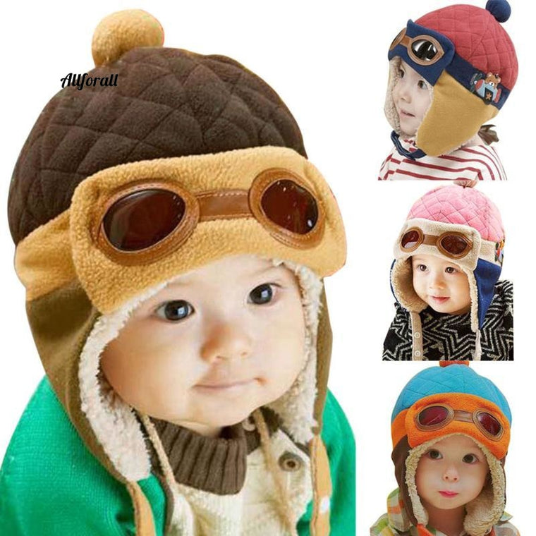 Vintervarma babyhattar, 4 Colors Infant Toddlers Boys & Girls Beanies Pilot Caps